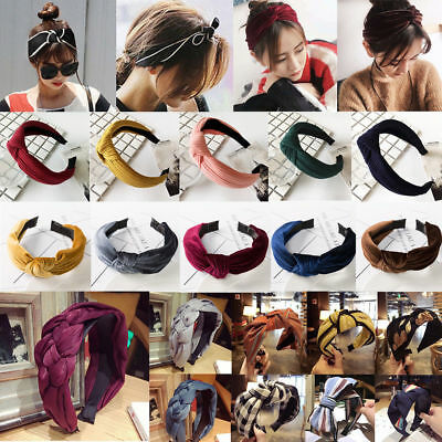 Women Velvet Headband HairBand Bow Knot Turban Wide Headwrap Hair Accessories