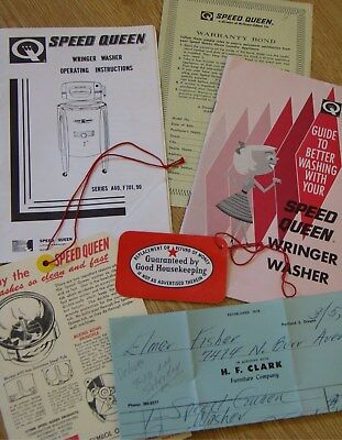 1963 Speed Queen Wringer Washer Manual + Papers old washing maxhine