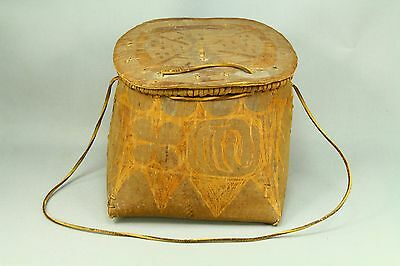 ! Antique IROQUOIS Native American Birch Tree Bark Basket Purse Leather Wood