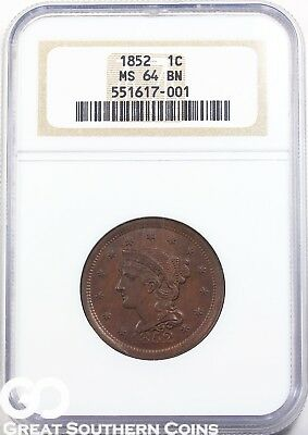 1852 Large Cent, Braided Hair NGC MS 64 BN ** Tough This Nice, Sharp, Free S/H!