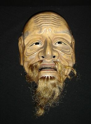 Antique Japan Edo Noh Okina Mask of Sankojo Polychrome Ceramic With Animal Hair