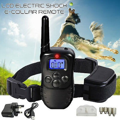 Rechargeable Electric Shock E-Collar LCD Remote Control Dog Training Anti-Bark