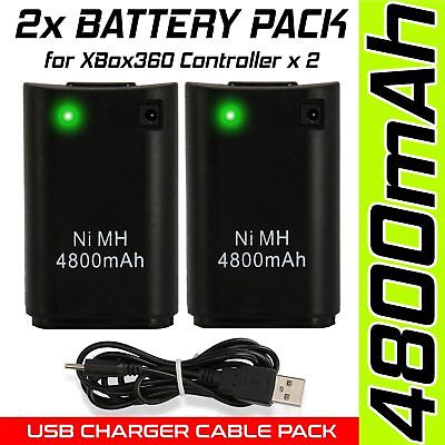 2 x Xbox 360 Controller Battery Pack & Lead Console Gaming Play Charge Kit UK
