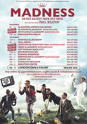 Madness 'DO NOT ADJUST YOUR NUT' Tour A6 Card Flyer - New