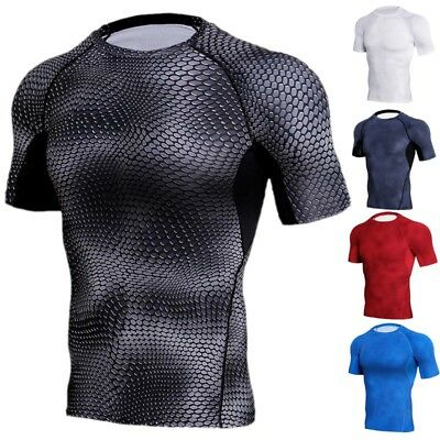 Mens Sports Apparel Tights Compression Workout Under Layer Gym Short T-shirt