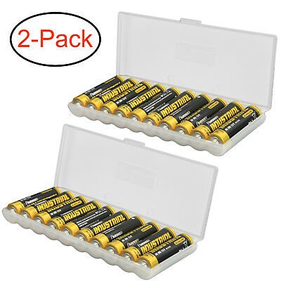 Clear AAA Plastic Battery Storage Case/Organizer/Holder For 10 AAA batteries 2PK