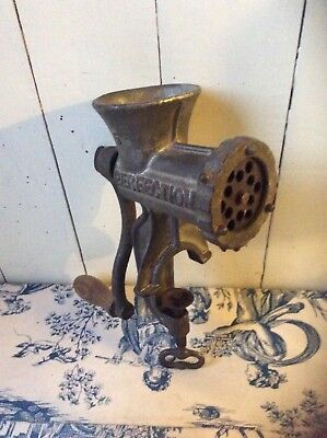 Vintage French Cast Iron Meat Grinder- Perfection, Upcycle Steam Punk Light(812)