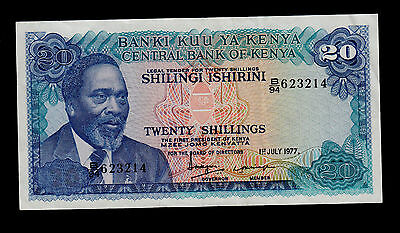 KENYA  20  SHILLINGS 1976  PICK # 13c  VF.