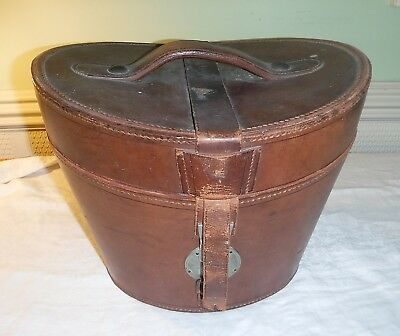 Antique Vintage Beautiful Heavy Quality Leather Mens Top Hat Box Ascot Formal
