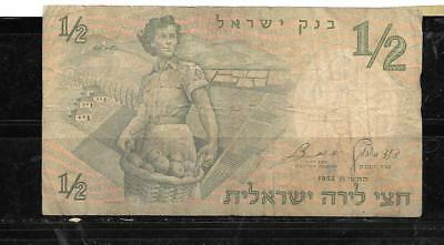 ISRAEL #29a 1958 1/2 LIRA good  CIRC OLD BANKNOTE PAPER MONEY CURRENCY BILL NOTE