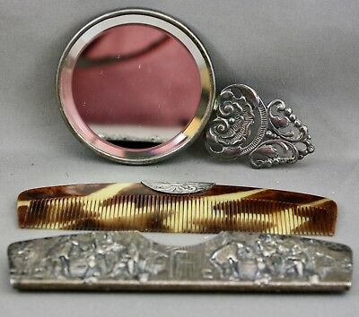Vintage Silver Plated Repousse Scene Comb & Mirror Set Marked Denmark