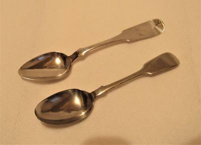 2 pc Antique Coin Silver Spoons ca. 1860`s 34.4 g. Scrap or Not H Robinson WH&S