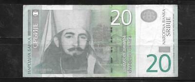 SERBIA 2013 20 DINARA VG used CURRENCY BANKNOTE BILL NOTE PAPER MONEY