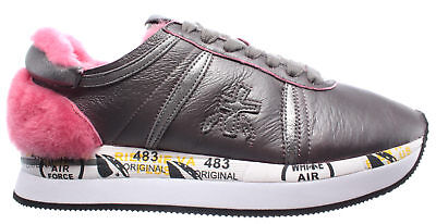 Women's Shoes Sneakers PREMIATA Conny 2613 Leather Grey Pink New