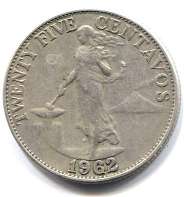 1962 Philippines 25 Centavos Coin - Central Bank of the Philippines