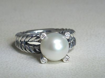 David Yurman 10Mm Pearl Cable Sterling Silver Diamond Ring Size 6