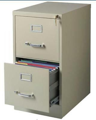 Commercial-Grade 2 Drawer Vertical Locking File Cabinet With Keys Cream Colored