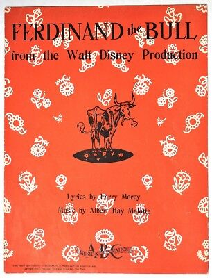 ESZ5129. FERDINAND THE BULL from the Walt Disney Production Sheet Music (1936) [