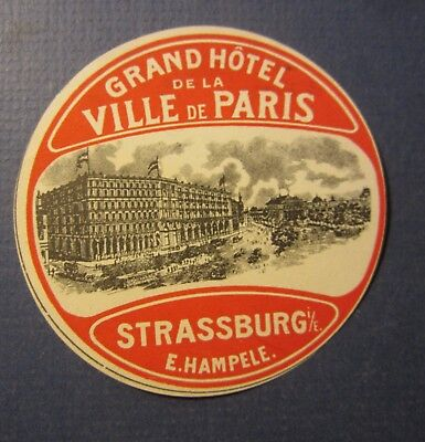 Old Vintage - Grand HOTEL Ville de PARIS - Luggage LABEL - STRASSBURG - France