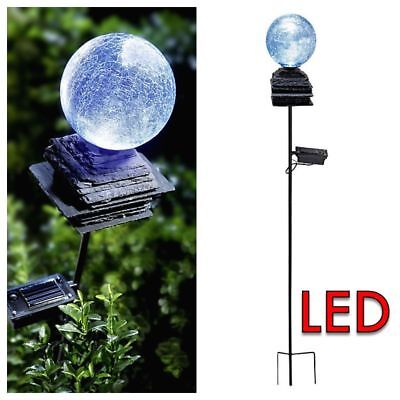 xl solar gartenstecker 2er metall led kugel glas skulptur flamme garten leuchte eur 33 90. Black Bedroom Furniture Sets. Home Design Ideas