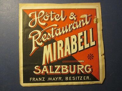 Old Vintage - HOTEL & RESTAURANT - MIRABEL - Luggage LABEL - Salzburg AUSTRIA