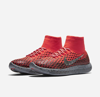 361f84ad9598 NIKE Mens Lunarepic Flyknit Shield Running Shoes Size 9.5 Bright Crimson