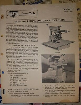 Rockwell Delta 900 Radial Saw Operators Guide 1956