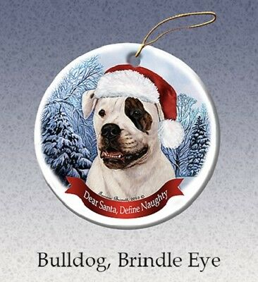 Define Naughty Ornament - American Bulldog with Brindle Eye