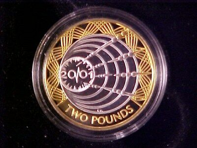 Great Britain 2 Pounds Silver Proof 2001 Marconi Wireless Nice In Case