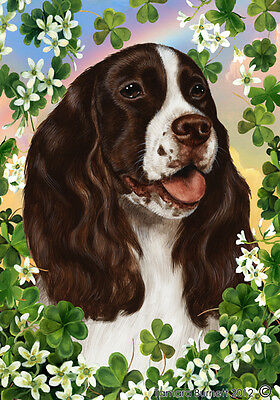 Garden Indoor/Outdoor Clover Flag - Liver English Springer Spaniel 310311