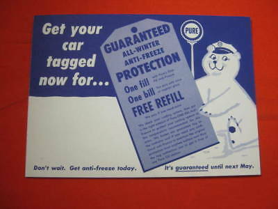 Pure Oil Anti Freeze All Winter Protection Postcard 1950