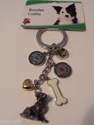 Metal 6-Charms Border Collie Dog Key Chain Ring 4.5""