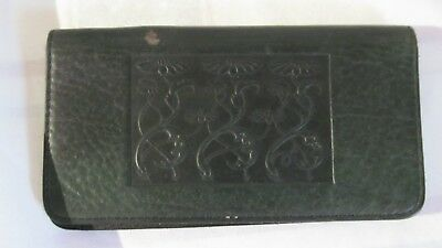 Oberon Leather Checkbook Case Green Tooled Lot #36