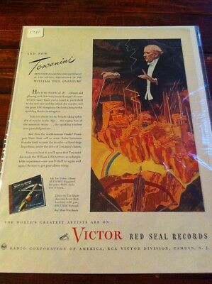 Vintage 1945 RCA Victor Red Seal Records Toscanini Print Art ad