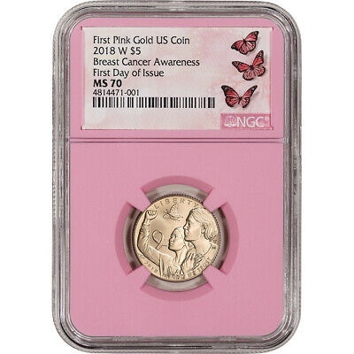 2018-W US Gold $5 Breast Cancer Commemorative BU - NGC MS70 First Day Issue Pink