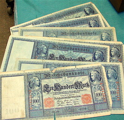 GERMANY---Lot of Seven (7) Large 100 Mark Currency Notes---Circa 1910