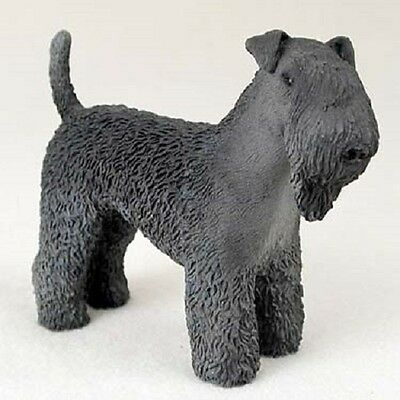 KERRY BLUE TERRIER Dog HAND PAINTED FIGURINE Resin Statue COLLECTIBLE puppy