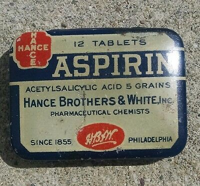 Hance Aspirin Advertising Tin Chance Brothers &White Co. 12 Tablets
