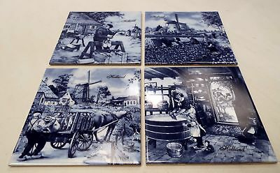 4 X TER STEEGE Hand-Decorated Delft Porcelain Tiles SCENES Of Holland - U03