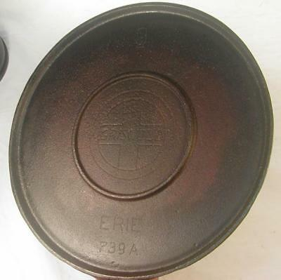Antique Cast Iron Erie No.9 739A Griswold Griddle Pan Unusual Double Heat Ring