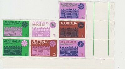 Christmas stamps Australia 1971 block of 7 cream paper with gutter, uncommon