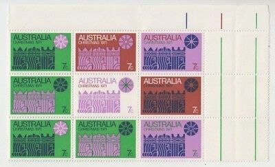 Christmas stamps Australia 1971 top marginal block of 9 cream paper with gutter