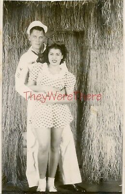 WWII photo- USN Navy Sailor & Sexy HULA GIRL Arcade Photobooth - Hawaii -2
