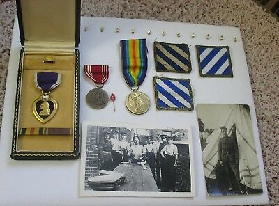 Vintage WWI ? Purple Heart Medal In Case, w Pic's & Additional Medals & Patches