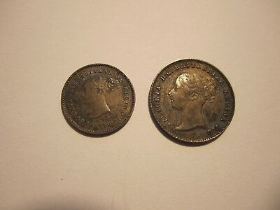 1838 Uk Great Britain Two & Four Pence, Scarce, Higher Grades,  Free Ship