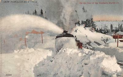 Snow Plow Clearing Railroad Track Southern Pacific Company Postcard 1918