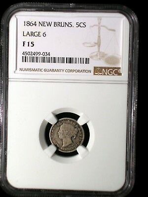 Canada New Brunswick 1864 5 Cents *NGC F-15* Scarcer Large 6 Looks Nice 4 Grade