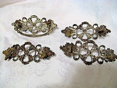 ANTIQUE DRAWER PULLS 5pc  FRENCH STYLE ORNATE GREAT ART-REPLACEMENT PIECES