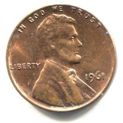 U.S. 1961 P Lincoln Memorial Penny - American One Cent Coin - Philadelphia Mint