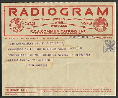 Kingsford-Smith Radiogram - 1st East-West Pacific Crossing - 28/10/1934 - 8:17pm